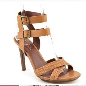 Marc Fisher Cari Tan Leather Stiletto Heel Sandals